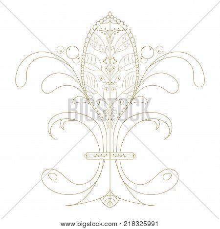 Vector illustration: The Fleur de Lis or flower de luce with french floral medieval ornament. The Fleur de Lis known as French Royal Lily isolated.