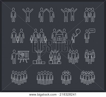 People line icons, family, business, team, sucess concepts, dark background, vector eps10 illustration