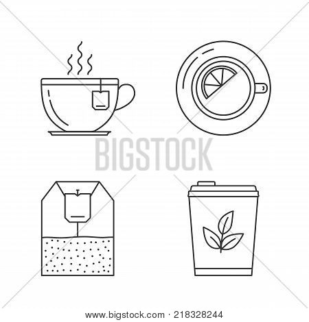 Tea line icons on white background - tea cups, tea bag and tea with lemon, vector eps10 illustration