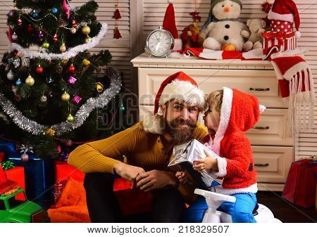Happy Family Celebrate New Year And Christmas.