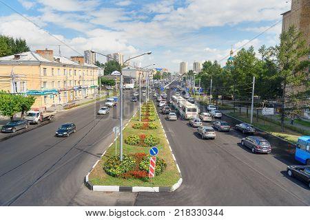 Krasnoyarsk Russia- August 11 2017: View on street Partisan Zheleznyak in Sibirian city Krasnoyarsk