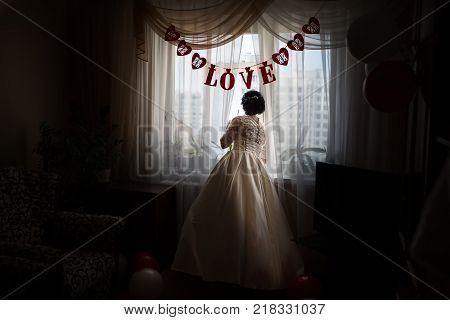 Belarus Gomel September 29 2017 Wedding Feast.The bride is waiting for the groom