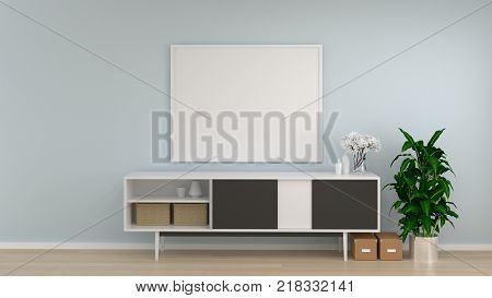 mock up frame white room cabinet in living room interior background3D rendering empty wall and ornamental tree copy space interior background
