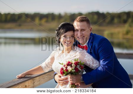 Belarus Gomel September 29 2017 Wedding Feast.The bride and groom are happy at the wedding walk. Portrait of the bride and groom