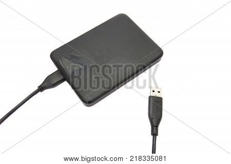 Hight speed external hard disk isolated on white background.
