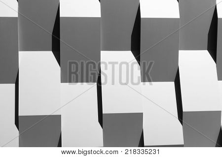abstract architecture wall geometry decoration background. Black and white