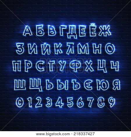 Latin neon font. Glowing alphabet, electric stand, against a brick wall background, calligraphic Abc..