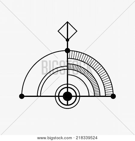 Abstract geometric symbol. Sacred geometry sign. Concept of imagination magic alchemy religion philosophy spirituality occultism creativity. Linear logo and spiritual design. Vector elements.