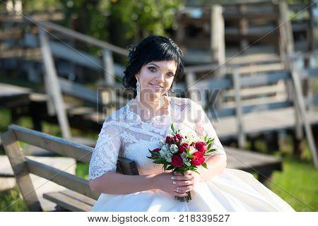 Belarus Gomel September 29 2017 Wedding Feast.Portrait of a bride with a bouquet. Bride on wedding day