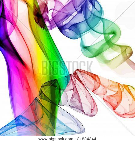 Smoke in colour going up in a spiral poster