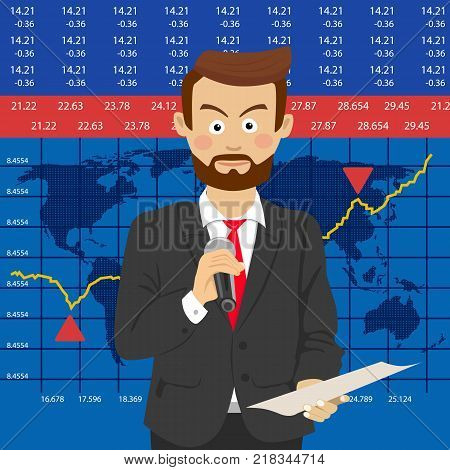 Anchorman on tv broadcast news. Media on television concept with globe map background. Breaking news