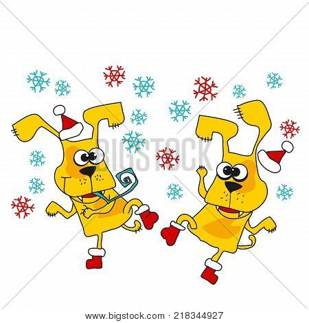Cool yellow dog mascot cartoon. Funny winter xmas dancing animal in Santa hat. Christmas and Chinese New year party Vector illustration