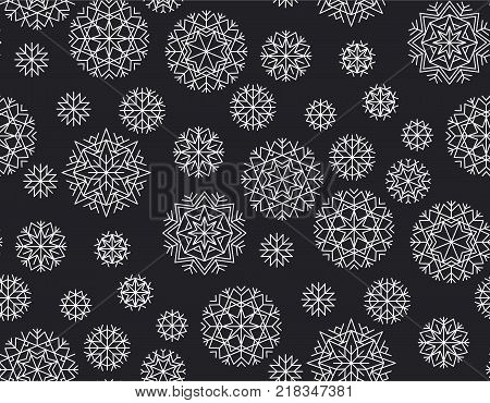 Abstract winter vector background. Xmas and New Year elegant luxury style seamless pattern. Repeatable motif for holiday wrapping paper, fabric, backdrop.