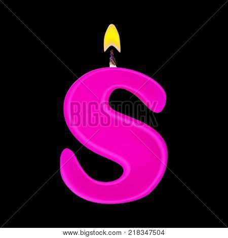 Realistic candle letter S isolated on black background. 3d. Stock - Vector illustration