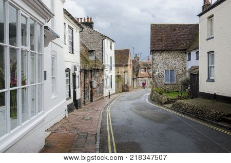 ALFRISTON, EAST SUSSEX, UK, 17TH MARCH 2013 - View of ancient buildings in the High Street Alfriston village East Sussex UK