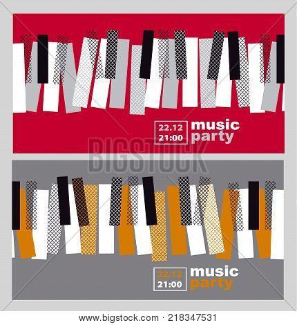 hands and piano keys vector illustration. modern concept jazz concert poster