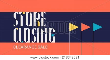 Store closing vector illustration, background. Horizontal banner, flyer for store shutting down clearance sale