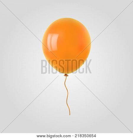 Orange flying helium balloon. For decoration party, birthday, new year and celebrations. Realistic style isolated on white background. 3d. Stock - Vector illustration for your design and business