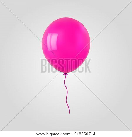 Pink flying helium balloon. For decoration party, birthday, new year and celebrations. Realistic style isolated on white background. 3d. Stock - Vector illustration for your design and business