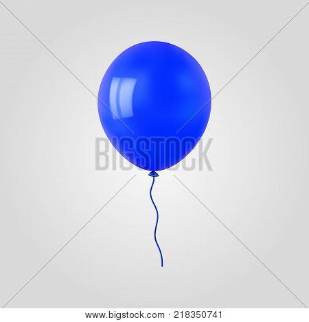 Blue flying helium balloon. For decoration party, birthday, new year and celebrations. Realistic style isolated on white background. 3d. Stock - Vector illustration for your design and business