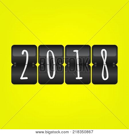 2018 Happy New Year scoreboard vector illustration. Black and white flip symbol on yellow background. Infographic sign for web design celebration