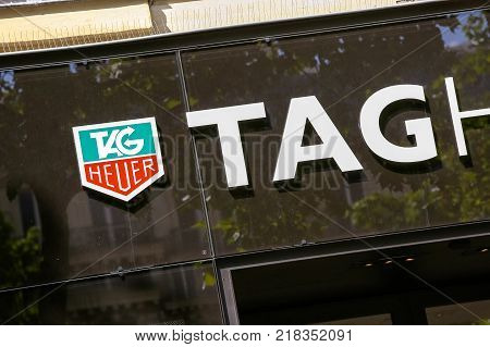 Paris France - July 14 2014: TAG Heuer storefront on the Champs Elysees. TAG Heuer is a Swiss manufacturer of sports watches and precision chronographs.