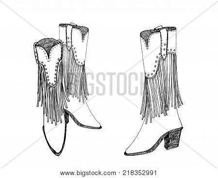 A pair of female cowboy boots. Vector illustration.