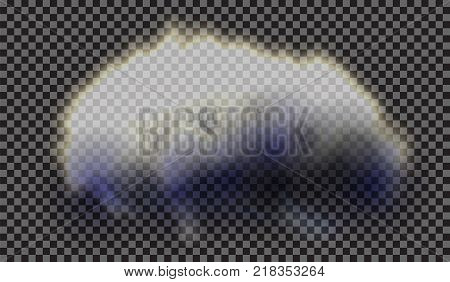 EPS 10. Fog or smoke isolated transparent special effect. White vector cloudiness, mist or smog background. Vector illustration