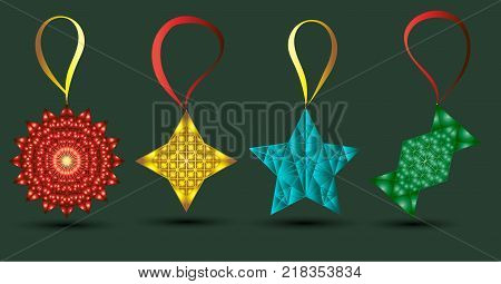 New Year`s toys vector, red toy, yellow toy, green toy, blue toy