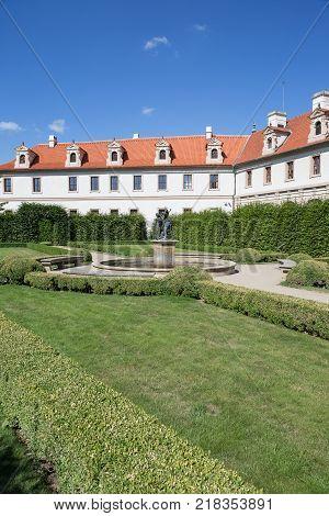 Building behind the formal Wallenstein (Waldstein) Garden (Valdstejnska Zahrada)). It is a public Baroque garden at the Lesser Town (Mala Strana) in Prague, Czech Republic.