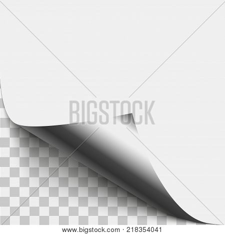 Silver page corner peel. Silver page curled fold with shadow. Blank sheet of folded sticky paper note. Vector illustration sticker peel for advertising and promotional message isolated on white background.