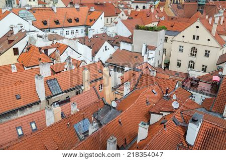 Red roofs of old buildings at the Mala Strana District (Lesser Town) in Prague, Czech Republic, viewed from above.