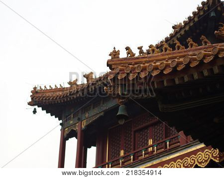 The Temple Of Heaven In Detail. Door And Windows And The Roof.travel In Beijing City, China. 20Th Oc