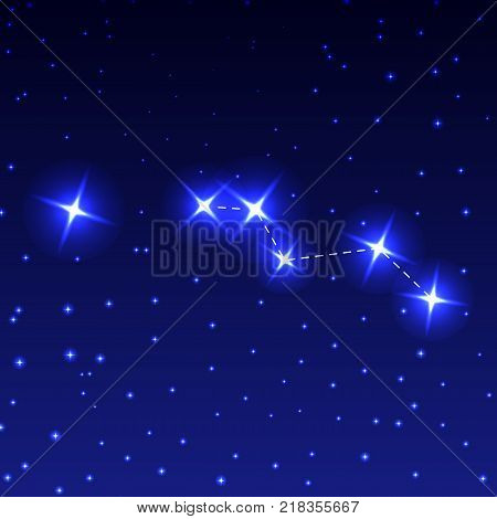 The Constellation Chanterelle in the night starry sky. Vector illustration of the concept of astronomy