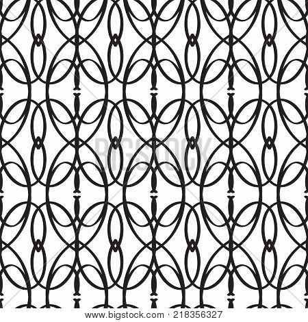 Abstract minimalistic seamless pattern with geometric interweaving repeating shapes in monochrome style vector illustration