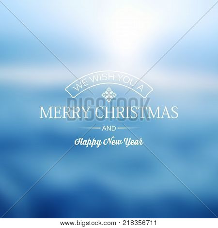 Blue greeting merry christmas decorative card with different elements concerning celebration vector illustration