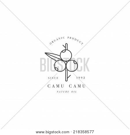 Vector design element and icon in linear style - camu camu berry - healthy eco food. Organic ingredient. Logo sign