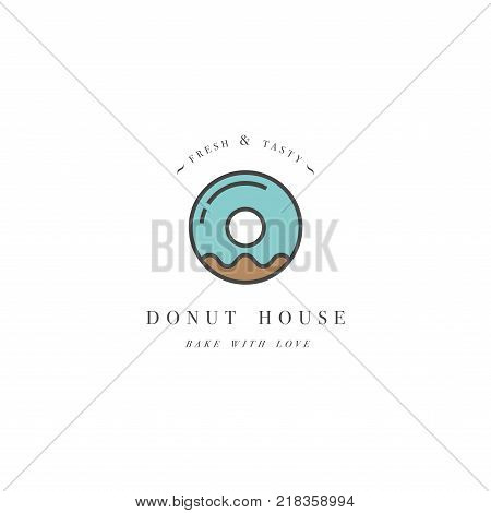 Vector design template and emblem - donut icon for bakery shop. Sweet shop. Logo in trendy linear style