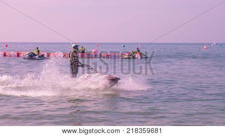 On Dec 102017. Jet ski world cup 2017 at Jomtien Beach in Chon Buri Thailand. Jet ski number 46 on sea