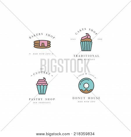 Set vector design templates and emblems - cupcake, donut and bake icon for bakery shop. Sweet shop. Logo in trendy linear style