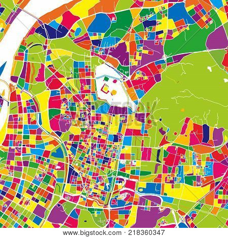 Nanjing, China, colorful vector map.  White streets, railways and water. Bright colored landmark shapes. Art print pattern.