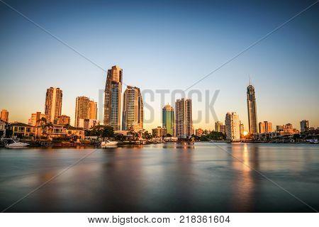Sunset skyline of Gold Coast downtown in Queensland, Australia. Long exposure.