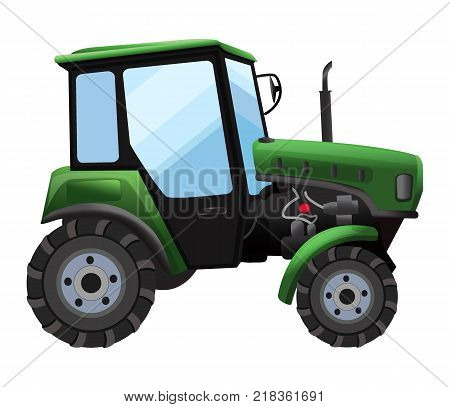 Tractor. Vector illustration of green tractor in a flat style isolated on white background. Heavy agricultural machinery for field work,