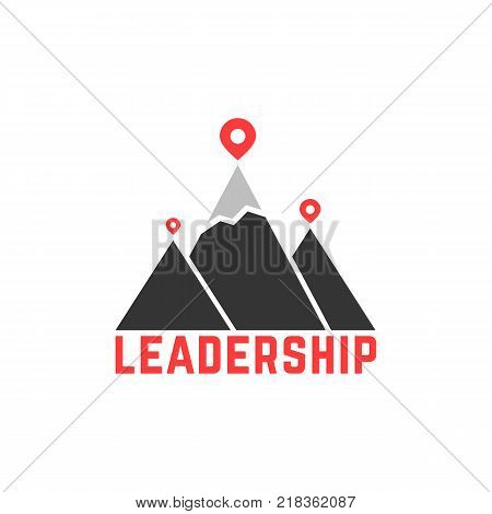leadership like top summit logo. concept of career motivation result, strength triumph and possibility. flat style geoloc sign or hiking gps marker trendy logotype graphic design on white background
