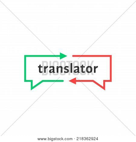 simple thin line translator logo. web teaching symbol or pictogram isolated on white background. concept of child learning chat and interpreter dialog label. flat unusual logotype graphic art design