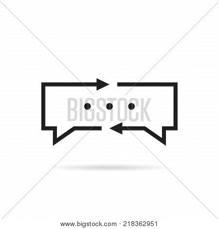 black thin line translator logo. interpreter dialog label and child learning chat concept. web teaching symbol or pictogram isolated on gray background flat unusual logotype graphic art design