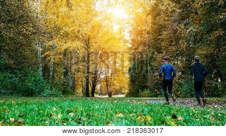 Morning running. Running athletes park on a run early morning. Several children are running woods doing sports. Healthy lifestyle. Beautiful forest, run the guy in the park.