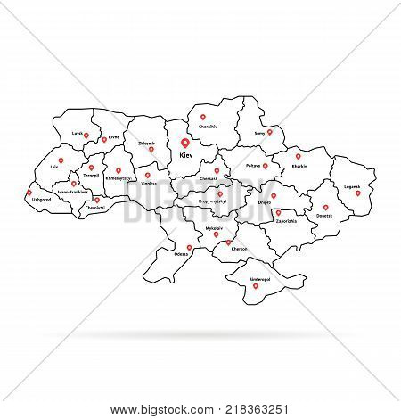 linear ukraine map pin with regional centers. concept of european regional geography or simple infographics element on white background. unusual graphic art design of detailed administrative border