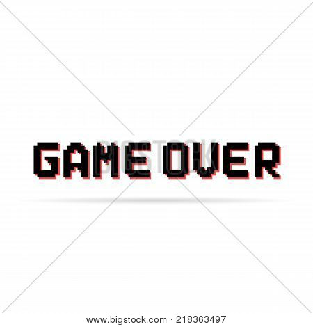 black and red game over pixel text. trend modern leisure concept or gaming entertainment emblem for graphical user interface. unusual flat style pixelated graphic design simple symbol on white