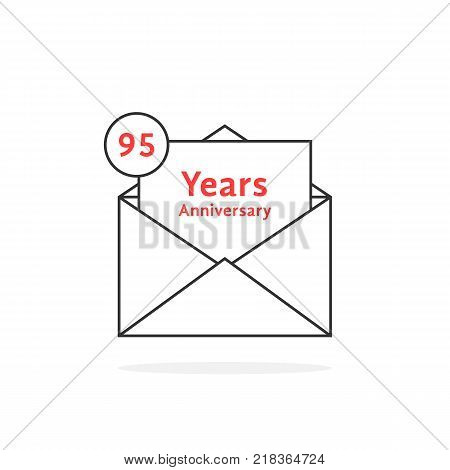 thin line 95 years anniversary logo like black open letter. concept of jubilee feast of grandpa or grandma and holiday for grandfather or grandmother. stroke style logotype graphic art design on white